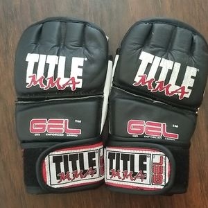 TITLE MMA genuine leather gel enforced gloves